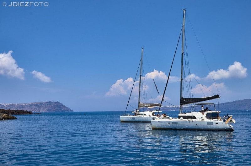 Veleros en la Caldera de Santorini