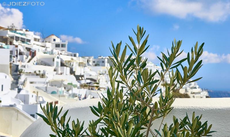 Vistas de las construcciones de Fira en Santorini