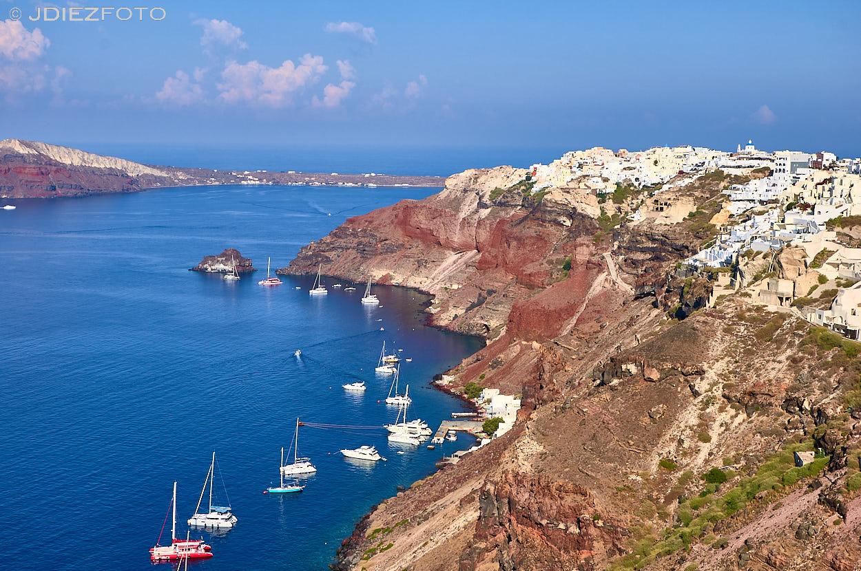 Vistas a la caldera de Santorini desde Oia