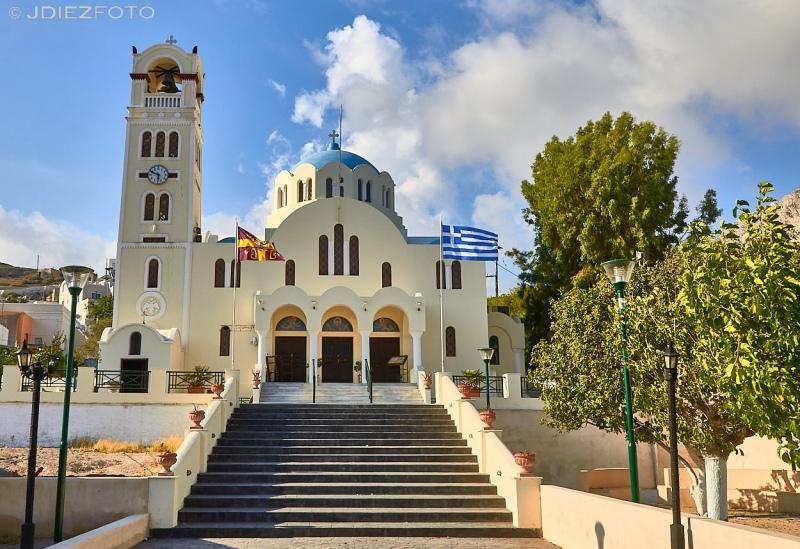 Iglesia ortodoxa de Emporio en Santorini