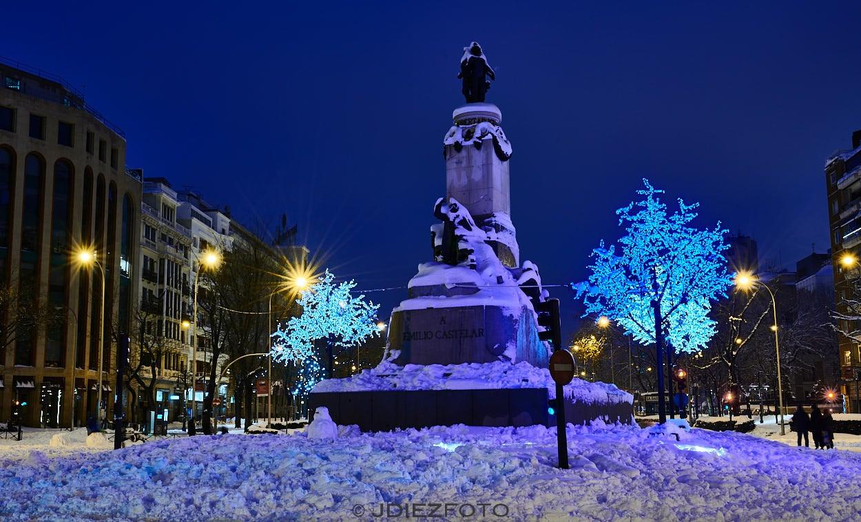 Glorieta de Emilio Castelar con nieve