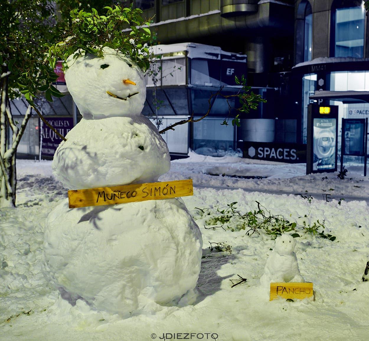 Muñecos de nieve en Madrid