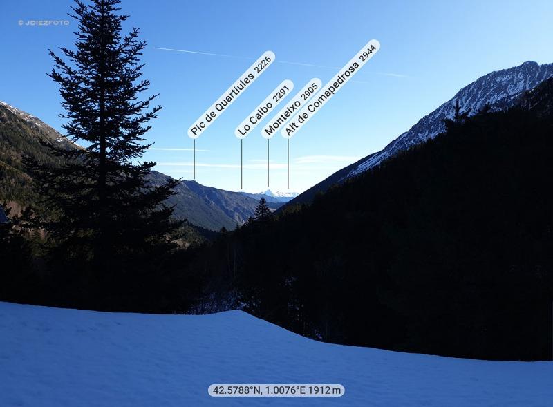 PeakFinder. Monteixo desde el Valle de Monestero