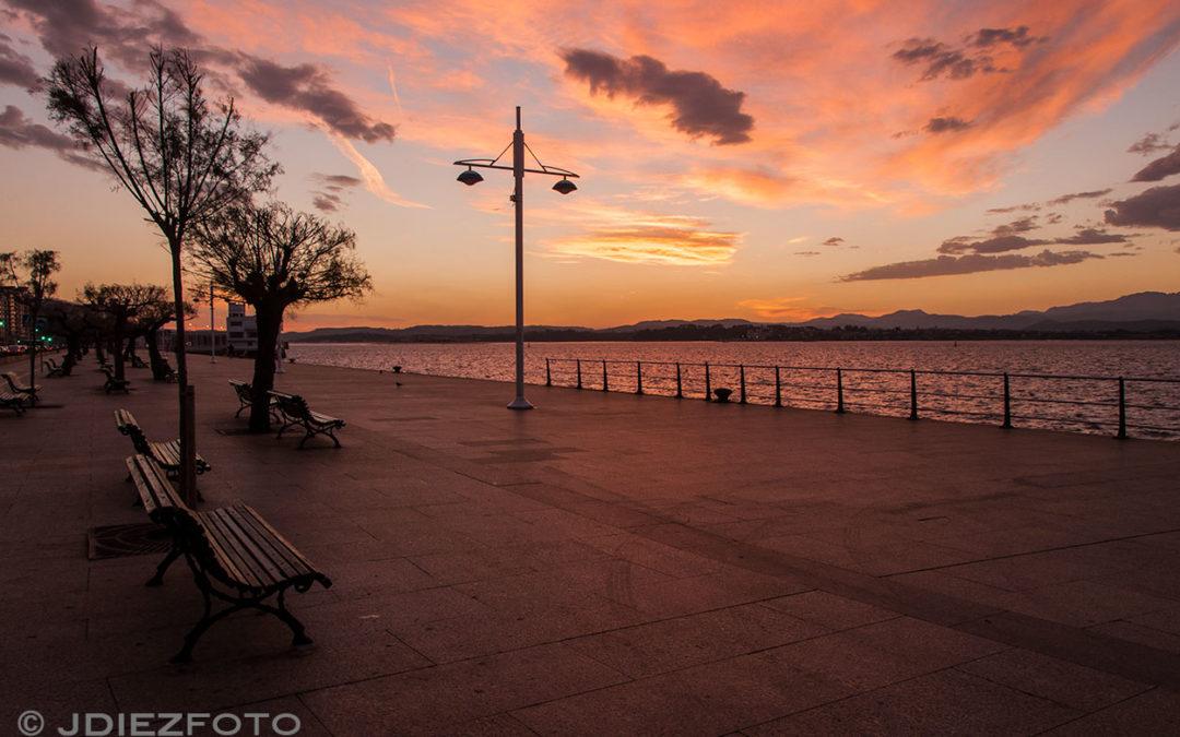 El amanecer junto a los Tamarises del Paseo Marítimo de Santander